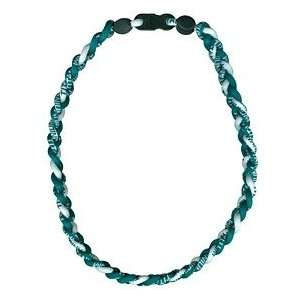 Titanium Ionic Braided Necklace   Green/White