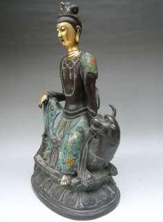 Old Chinese 24K Gold Gilt Cloisonne Kwan Yin Quan Yin Buddha Statue