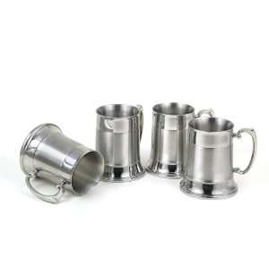 4 Piece Large Two Tone Stainless Steel Beer Mug Set   Fine