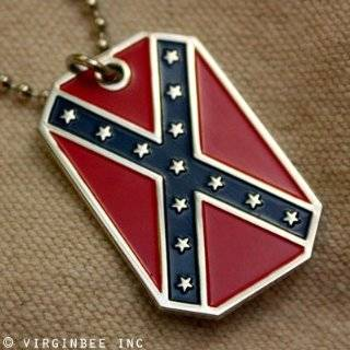 CONFEDERATE STATES AMERICA FLAG DIXIE REBEL CSA PENDANT DOG TAG CHAIN