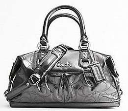 100% Authentic Coach Gunmetal Ashley Perforated Leather Satchel Purse