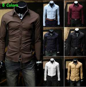 Mens Slim Stylish Dress Shirts Fit Casual Shirts 8 Colors 4 Size Pick
