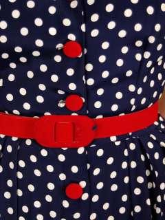 Vintage Day Dress Navy Blue & White Polka Dots 1940S