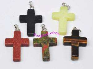 Wholesale Mixed Lots 50pcs natural stone cross pendant