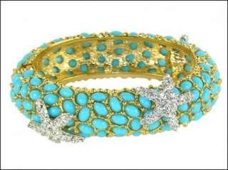 New KENNETH JAY LANE Turquoise WIDE Cabochon Starfish Bangle Bracelet