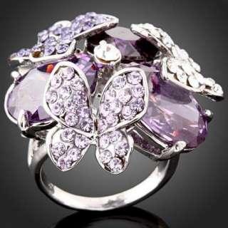 Butterfly ARINNA Swarovski Amethyst Crystal Finger Ring
