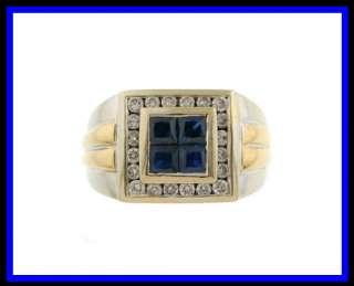 Mens 14K Two Tone Gold Sapphire & Diamond Dinner Ring