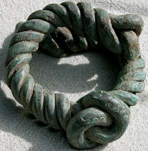 african coiled copper currency w knot calabar nigeria