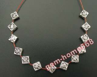 220 Tibetan Silver Bali Crafted Motif Square Beads B516
