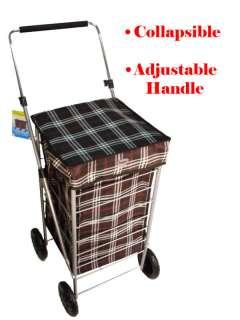 Wheel Shopping Trolley Flat Folding Caged Bag Case