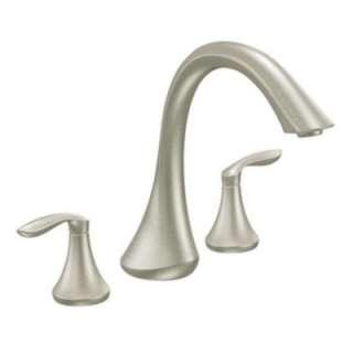 Eva 2 Handle Deck Plate Roman Tub Faucet Trim Kit in Brushed Nickel