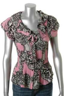 Sunny Leigh NEW Petite Pink Crinkled Blouse Sale Top PS