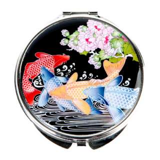 Mother of Pearl Koi Fish Design Compact Cosmetic Pocket Purse Makeup
