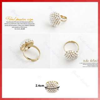 New Fashion Cute Adjustable White Pearl Mushroom Flower Ring