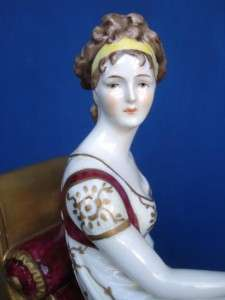 Antique German Dresden Porcelain Madame Recamier Figure Jacques Louis