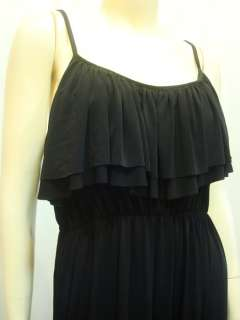 Womens Black Ruffle Spaghetti Party Summer Long Maxi Dress Sz XXL 3XL