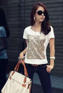 Crew Neck Sequin Prints Casual Tops T Shirt S,M,L Size #292