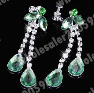 Flower Green Rhinestone&Acryl Necklace&Earrings 1Set