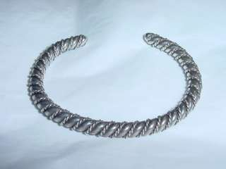 VINTAGE STERLING/COIN SILVER NATIVE AMERICAN WIRE TWIST CUFF BRACELET