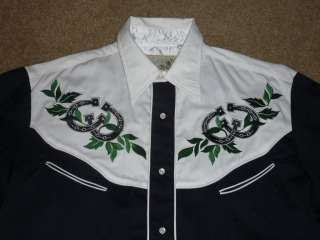 ROPER OLD WEST CLASSISC WESTERN COWBOY RODEO SHOW SHIRT EMBROIDERED