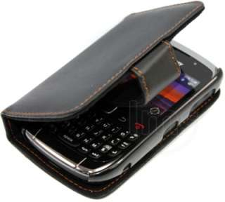 BLACK WALLET LEATHER CASE FOR BLACKBERRY CURVE 9300 3G