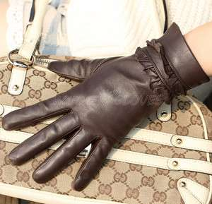Womens GENUINE LAMBSKIN Winter Warm leather gloves Christmas Gift