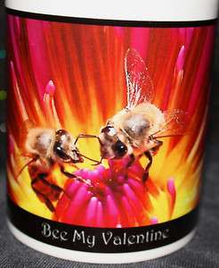 Bee My Valentine Kissing Honey Bees on a Water Lily Flower Porcelain