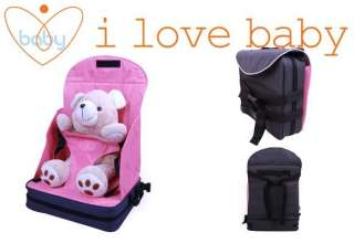 Pink Portable Baby Booster Seat High Chair Bag Harness