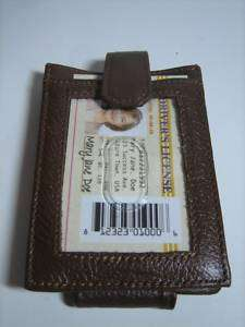 Brown Leather Magnetic Money Clip Wallet ID Card Holder