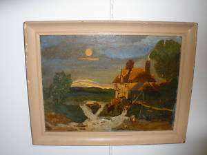 ANTIQUE OIL PAINTING FISHING MAN @ DOG LANDSCAPE SCENE