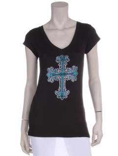 Embellished T Shirt, Cross & *Faith*, Plus Sizes, Black