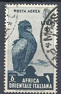 1938 AFRICA ORIENTALE ITALIANA USATO POSTA AEREA 1 LIRA   RR9448