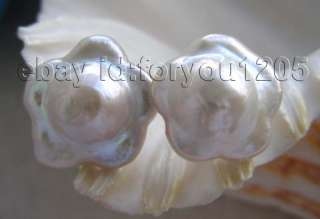 16mm White Reborn Keshi Flower Pearl Earrings studs 14k