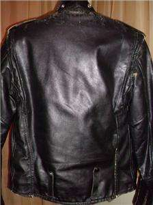 Harley Davidson Distressed Leather Jacket Vtg AMF Cycle Champ 38   40