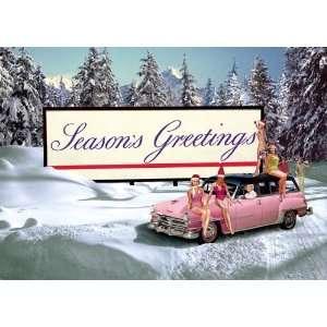 Seasons Greetings Mädchen und Auto. Weihnachtskarte: .de