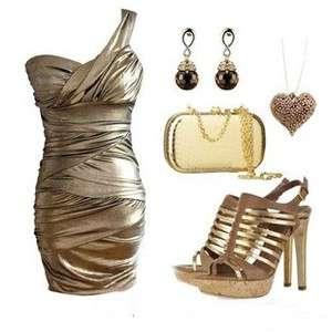 Metallics Golden One Shoulder Ruffle Party Cocktail Mini Dress S M