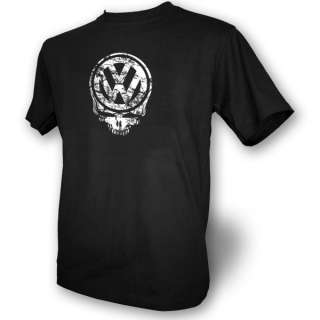 VW Skull Mens Black T Shirt Beetle Camper Volkswagon