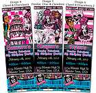 printed monster high sweet 1600 birthday ticket invitations one day