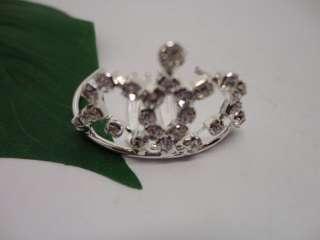 Silver Plated Rhinestone Heart Crown Tiara Headband Wedding and Party