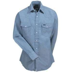 Wrangler MS70919 Mens Blue Chambray Cotton Twill Western Shirt