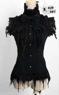 PUNK Gothic visual kei Black turkey style Vest short sleeves Blouse S