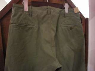 VINTAGE DOUBLE RL RRL  OFFICER CHINOS PANTS  OLIVE GREEN