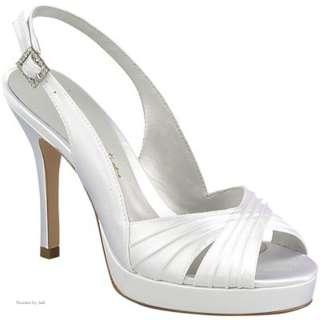 Creations Valerie White Ivory Satin Platform Sling Back Heels Shoes