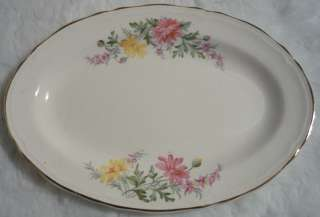 Edwin Knowles Semi Vitreous China Floral Gravy Boat and Oval Tray 47