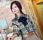Women Ladies blouse Collar Casual grid long sleeve T shirt top + scarf