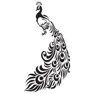 Ornate Peacock With Feathers Wall Stickers / Wall Decals 5053379012339