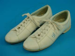 Womans White Size 8 Leather Sole Bowling Bowler Shoes