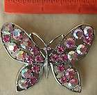 Pin Brooch Rhinestone Aurora Borealis Pink Butterfly Vintage