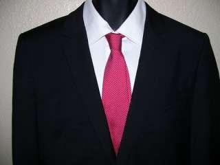 New Hugo Boss Red Label Alkonen/Hol Solid Black Super 120 Suit 44 L $