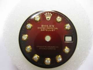 ROLEX DATEJUST LADIES DIAMOND DIAL RED VIGNETTE 4 GOLD